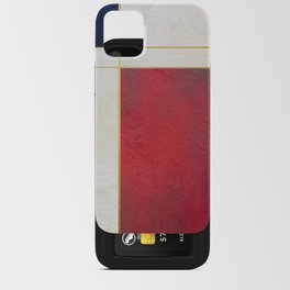 Blue, Red And White With Golden Lines Abstract Painting iPhone Card Case