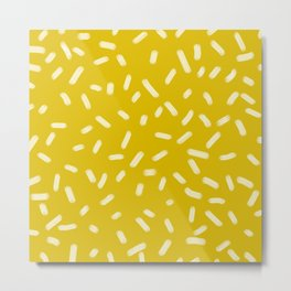 Mustard Yellow Brush Strokes Metal Print