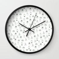 cacti Wall Clocks featuring cacti  by Magdalina Dianova