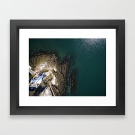 Maine Winters at the Coast  |  Drone Photography Framed Art Print