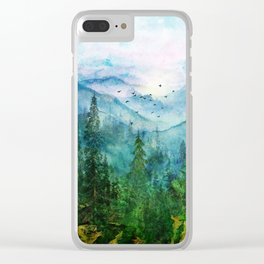 Spring Mountainscape Clear iPhone Case