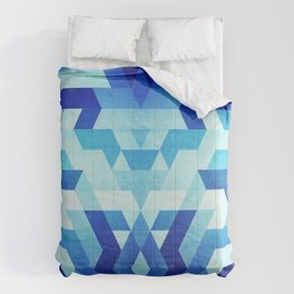 Abstract geometric triangle pattern (futuristic future symmetry) in ice blue Comforters