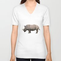 rhino V-neck T-shirts featuring Rhino by Mel Hampson