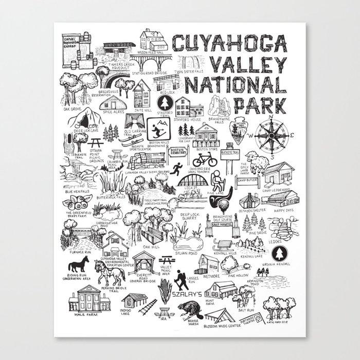 Cuyahoga Valley National Park Map Canvas Print by fiberandgloss ...