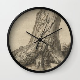 Study of a tree trunk with roots, 16th Century Wall Clock