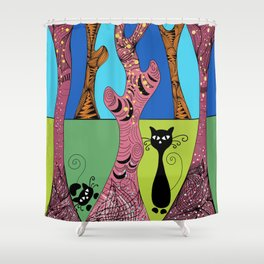 Cats in the Forest Shower Curtain