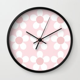 Spring Daisies In Pale Delicate Fresh Pink & White Wall Clock