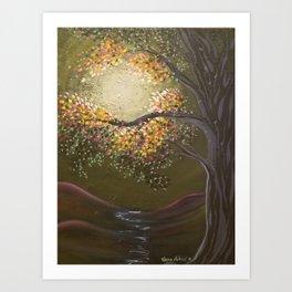 Moonlight Dance, tree and light art, moonlight, river valley Art Print