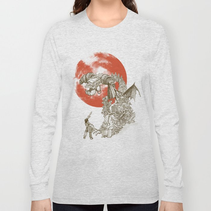Junkyard Dragon (monochrome version) Long Sleeve T-shirt