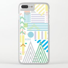 80s Geometric Mountains Clear iPhone Case