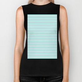 Horizontal Lines (Tiffany Blue/White) Biker Tank