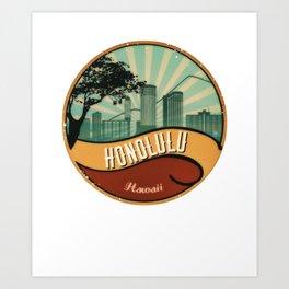Honolulu City Skyline Design Hawaii Retro Vintage 80s Art Print