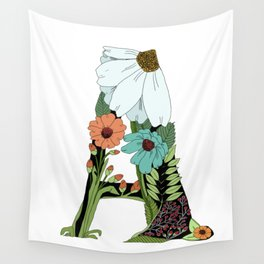 Floral Letter A Wall Tapestry
