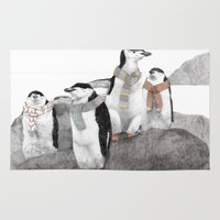 penguins Area & Throw Rugs featuring Penguins by Jamie Mitchell