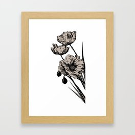 Beige Poppies Framed Art Print