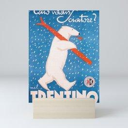 Vintage Ski Bear Mini Art Print