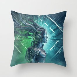 The Little Carbon Girl Throw Pillow