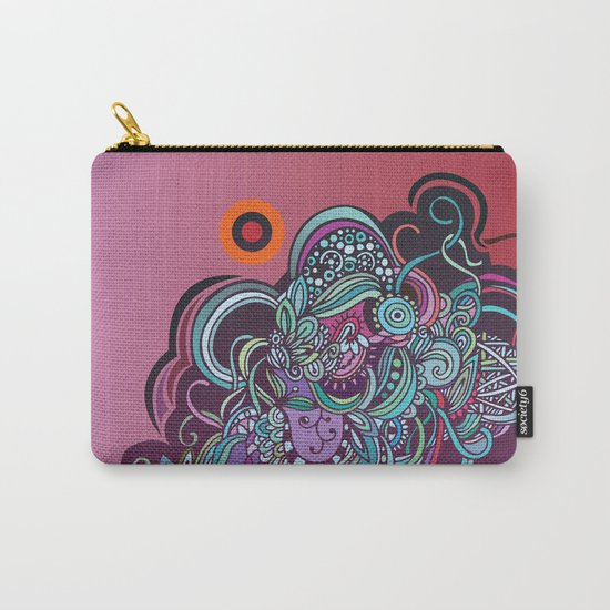 Detailed diagonal tangle, pink and purple Carry-All Pouch