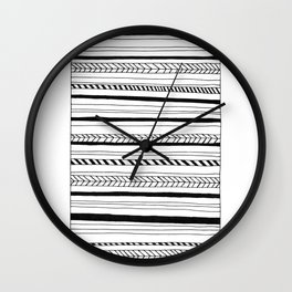 Abstract Black Lines Pattern Wall Clock