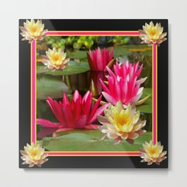 BLACK FUCHSIA PINK & YELLOW WATER LILIES  MODERN ABSTRACT Metal Print