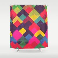georgiana paraschiv Shower Curtains featuring colour + pattern 11 by Georgiana Paraschiv