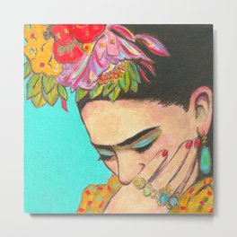 FRIDA KAHLO THINKS  Metal Print