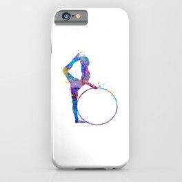 Rhythmic Gymnastics Art Gymnastic Hoop Girl Art Colorful Blue Purple Watercolor Art Flexible Girls iPhone Case