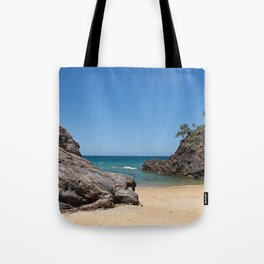 Tropical beach with rock Tote Bag