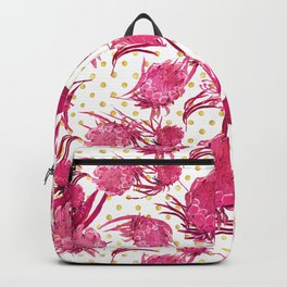 Pink and Gold Australian Native Floral Pattern - Protea, Grevillea and Eucalyptus Backpack