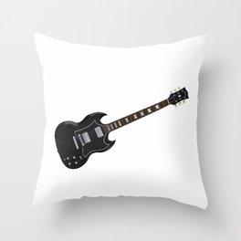 Black Electric Guitar Throw Pillow