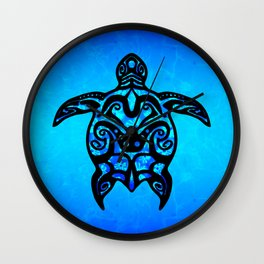 Tribal Turtle Hibiscus Wall Clock