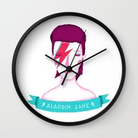 aladdin Wall Clocks featuring Aladdin Sane by Paula García