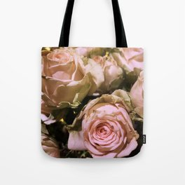 Shabby Chic Soft Peach-Pink Roses Tote Bag