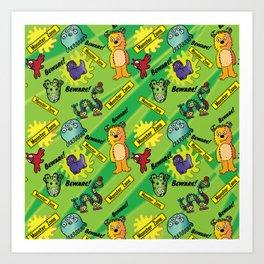 Beware! Monster Zone! Friendly monsters by Beebus Marble cute hairy monster Art Print
