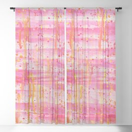 Confetti Abstract High Flow Acrylic Painting Sheer Curtain