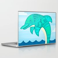 dolphin Laptop & iPad Skins featuring Dolphin by Claire Lordon