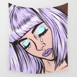 Lilac Bangs Crying Girl Wall Tapestry
