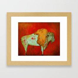 Southwestern Art Red Buffalo Framed Art Print