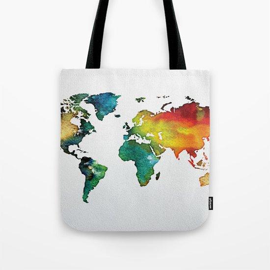 Multicolor World Map 04 Tote Bag
