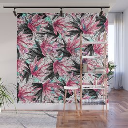 Abstract Pink Teal Leaves and Geometric Triangles Wall Mural