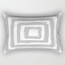 Minimal Light Gray Brush Stroke Square Rectangle Pattern Rectangular Pillow