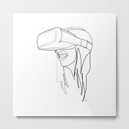 """Gaming Collection "" - Girl Wearing Virtual Reality Goggles Metal Print"