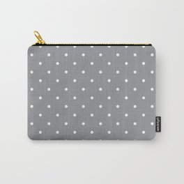 Small White Polka Dots with Grey Background Carry-All Pouch