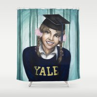 britney Shower Curtains featuring Britney: The Yale Grad by Nicole A. Fleming