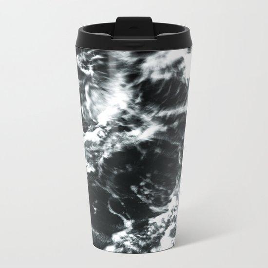 Waves - Black and White Abstract Metal Travel Mug