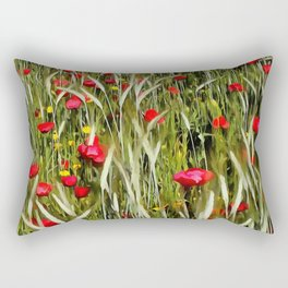 Red Poppies In A Cornfield Rectangular Pillow