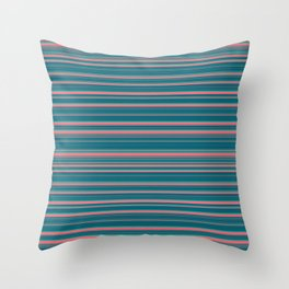 Deep Sea Blue & Pink Candy Lines Throw Pillow