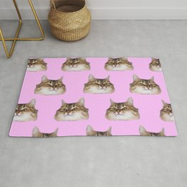 Funny cat's  heads on pink Rug