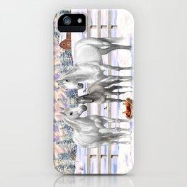 Beautiful White Gray Quarter Horses in Snow iPhone Case