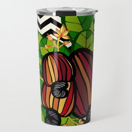 Black & White Chevron Cashew Travel Mug